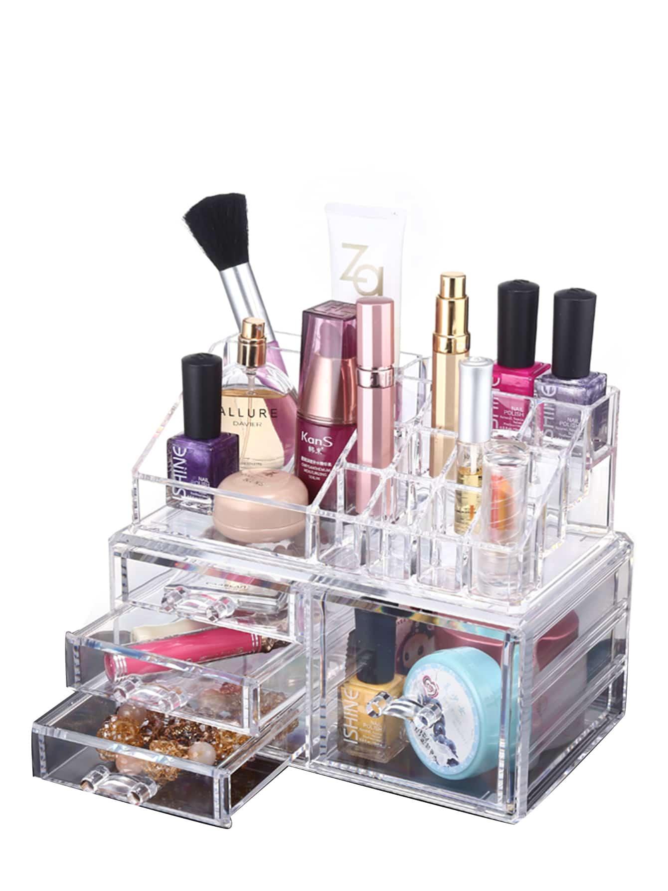 Acrylic drawer makeup organizer beauty storage shein Makeup drawer organizer