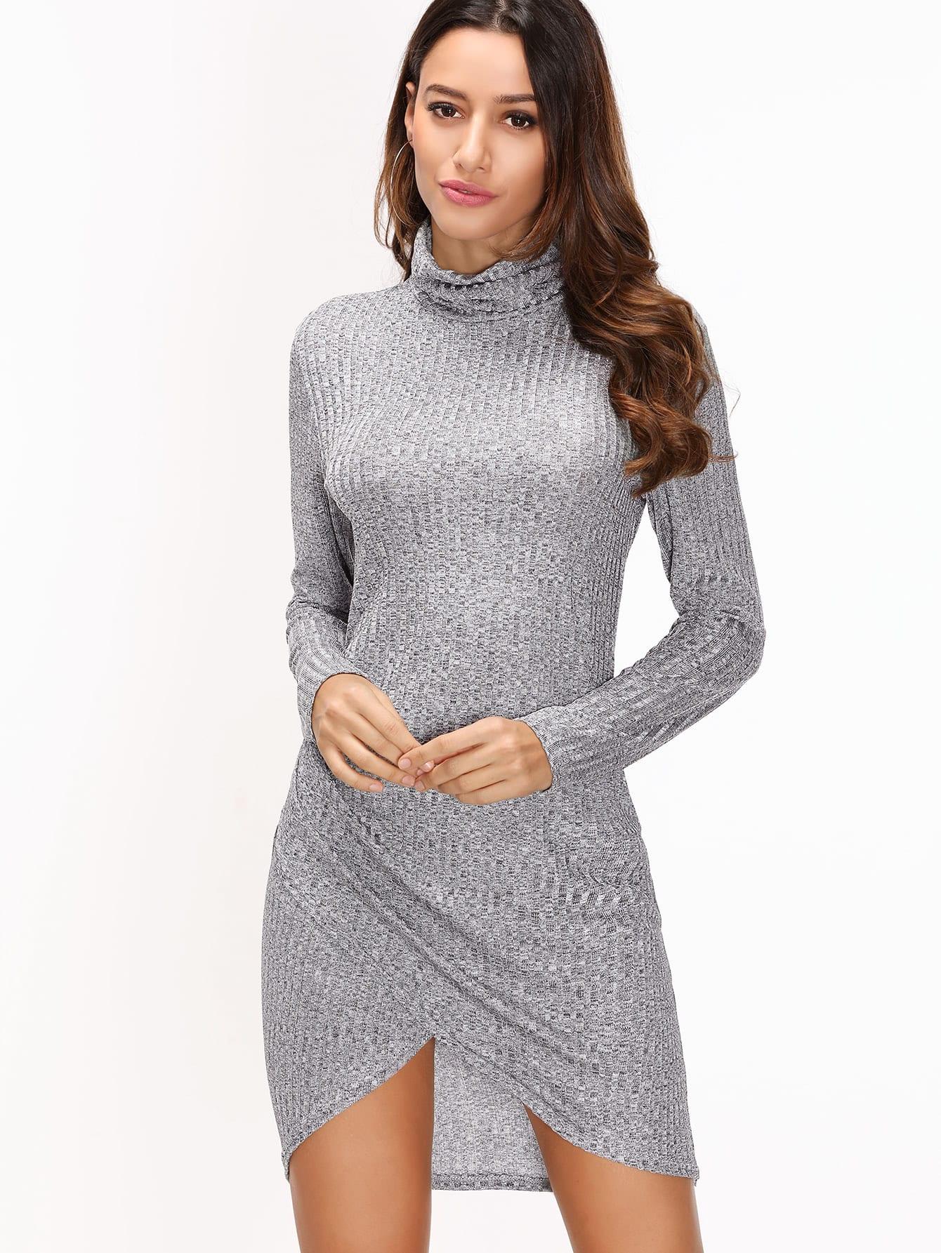 Grey Ribbed High Neck Dip Hem Dress dress161118102