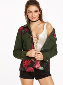 Olive Green Flower Sequined Flap Pocket Front Utility Jacket