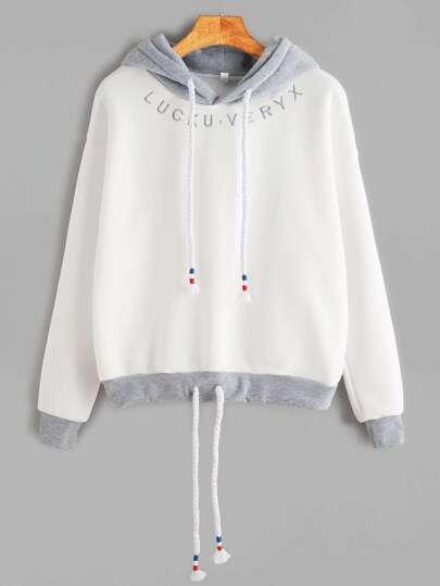 Sudadera ribete en contraste bordado de letra y capucha - blanco