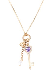 Gold Rhinestone Charm Pendant Necklace