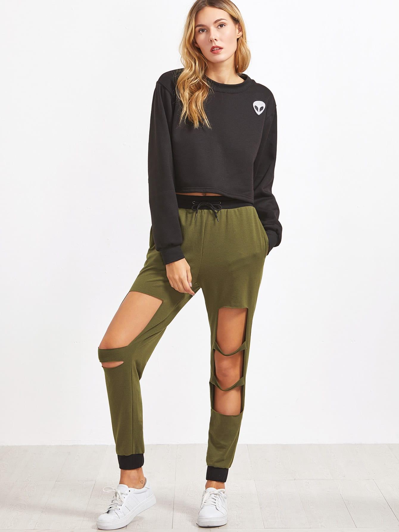 Фото Olive Green Contrast Trim Cutout Sweatpants. Купить с доставкой