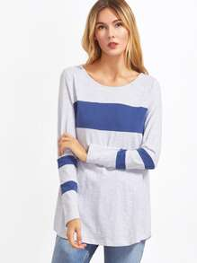 Color Block Striped Sleeve T-shirt