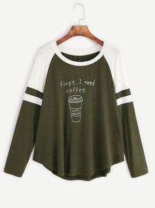 Camiseta con manga raglán y estampado de café