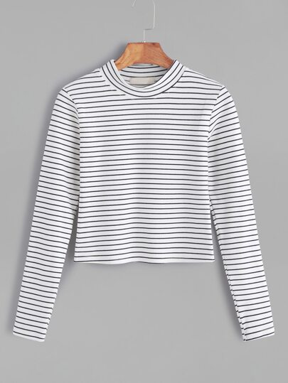 White mock neck striped t shirt shein sheinside for Mock crew neck shirts
