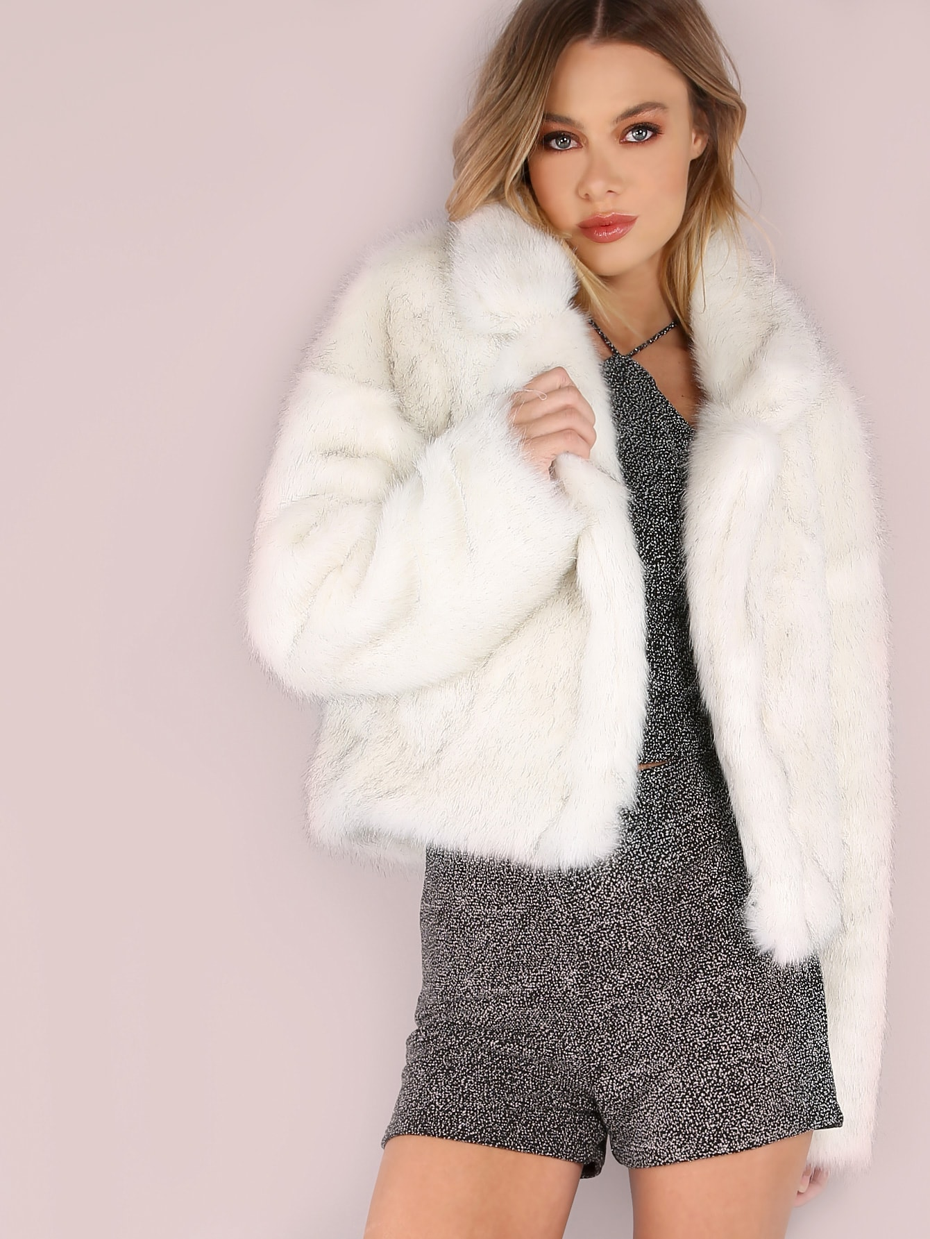 Image of White Stand Collar Open Front Faux Fur Coat