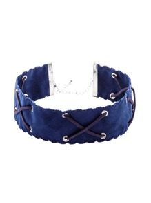 Blue Crisscross Band Wide Choker Necklace