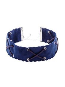Collier ras-de-cou large avec lacet croisé - bleu