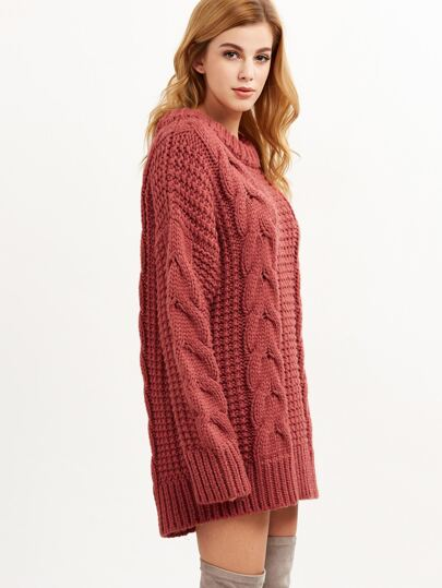 Brick Red Cable Knit Chunky Sweater -SheIn(Sheinside)