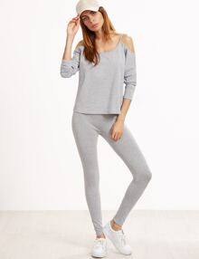 Grey Marled Cold Shoulder T-shirt With Leggings