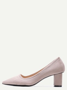 Khaki Point Toe Suede Heeled Pumps