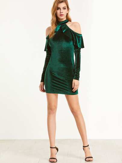 Green Ruffle Cold Shoulder Halter Neck Velvet Bodycon Dress