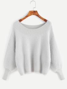 Pale Grey Lantern Sleeve Fuzzy Sweater