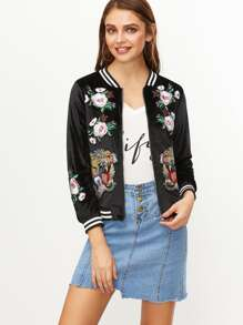 Contrast Striped Trim Embroidered Patches Velvet Jacket