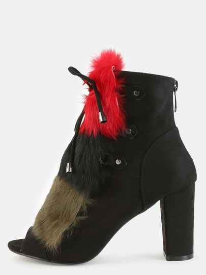 Color Block Faux Fur Ankle Booties BLACK