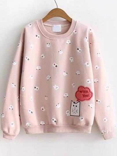 Pink Cartoon Print Sweatshirt With Embroidery Patch