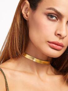 Gold Shiny PU Leather Thin Choker Necklace