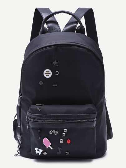 Black Embellished Front Zipper Nylon Backpack