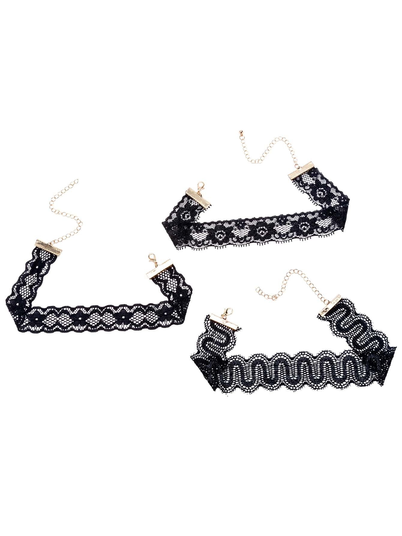 Фото Black Scalloped Lace Choker Necklace Set. Купить с доставкой