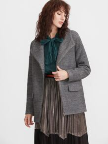 Grey Marled Knit Drape Collar Zip Up Coat