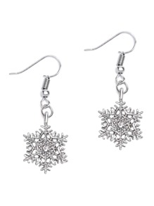 Silver Rhinestone Snowflake Drop Earrings