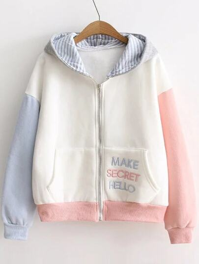 Color Block Letter Embroidery Zipper Up Hooded Sweatshirt