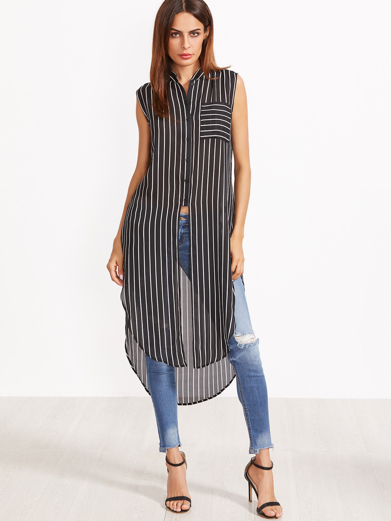 Contrast Striped Curved Hem Longline Sleeveless Blouse two tone striped front pockets curved hem blouse