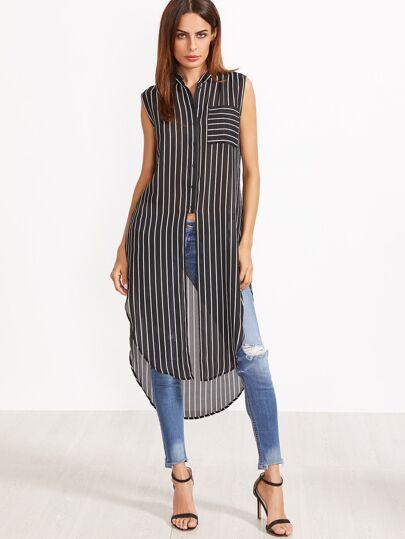 Чёрно-белая полосатая блуза без рукавов с изогнутым краем