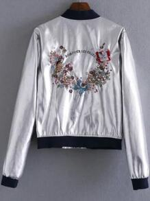 Silver Butterfly Embroidery Contrast Trim Jacket