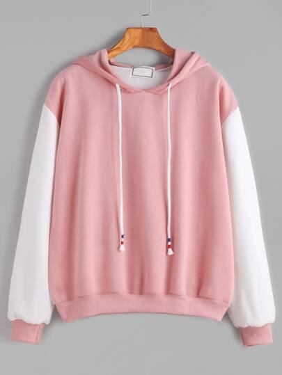 Color Block Hooded Drop Shoulder Sweatshirt