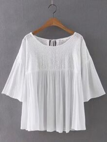 White Bell Sleeve Embroidered Tie Back Blouse