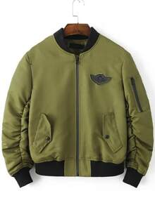 Army Green Patch Detail Zipper Jacket