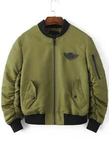 Veste avec pièces détail zippé -vert d'armée