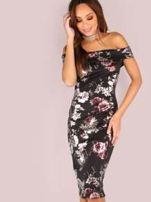 Divine Floral Bardot Bodycon Dress BLACK PINK