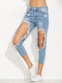 Skinny Jeans im Usedlook - blau