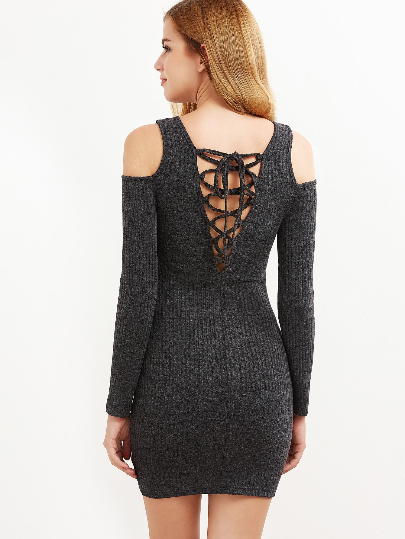 Grey Ribbed Knit Cold Shoulder Lace Up Bodycon Dress dress161108704