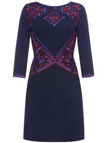 Navy Vintage Embroidered Shift Dress