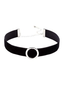 Black Strap Silver Metal Circle Choker Necklace