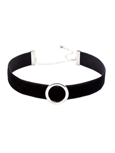 Black Strap Silver Metal Circle Choker Necklace