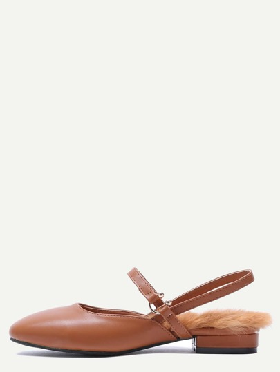 Brown PU Almond Toe Fur lined Mary Jane Shoes