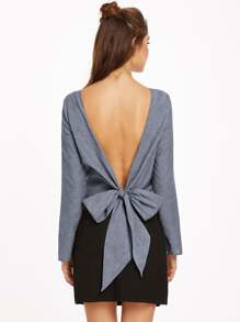 Grey Bow Tie V Back Long Sleeve Top