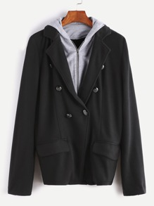 Double Breasted 2 In 1 Hooded Blazer