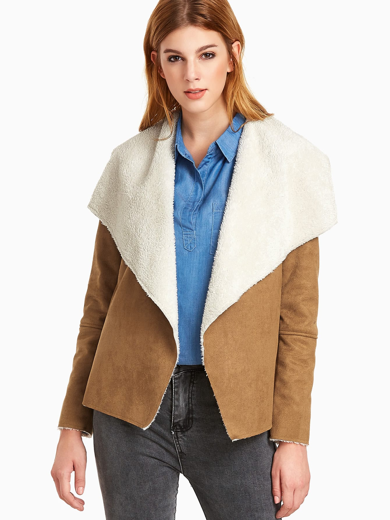 White Camel Suede Casual Shawl Collar Short Winter Color Block Fabric has no stretch Jackets.