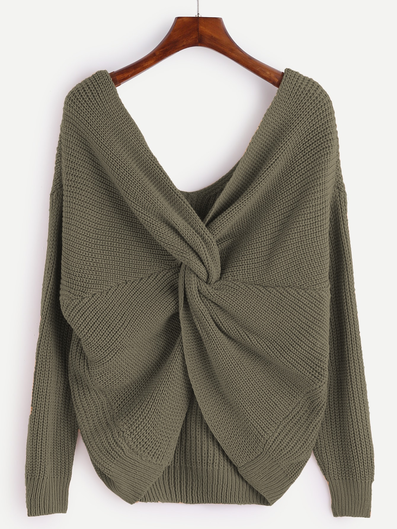 Army Green V Neck Knot Sweater cougar 530m army green