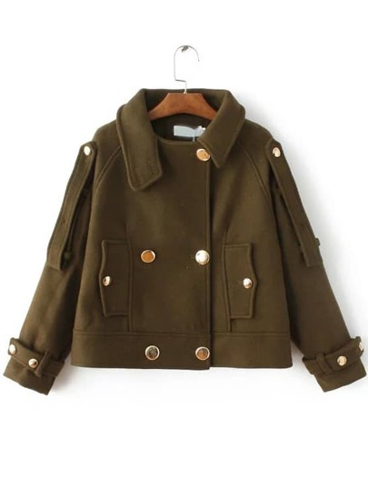 Army Green Double Breasted Epaulet Coat With Button