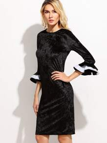 Black Layered Ruffle Cuff Velvet Dress