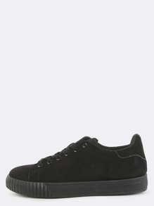 Round Toe Suede Sneakers BLACK