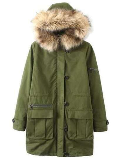Army Green Front Pocket Contrast Faux Fur Hooded Coat