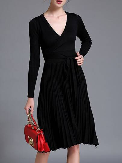 Black V Neck Knit Pleated Tie-Waist Dress