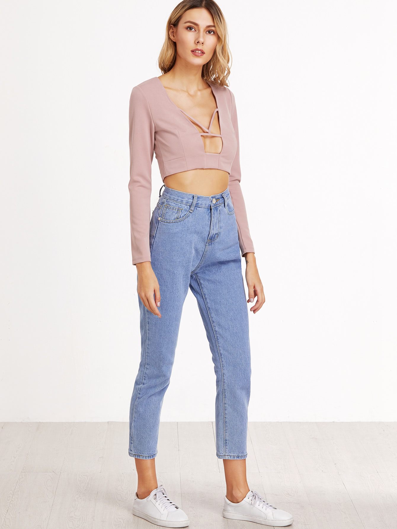 Ladies high waisted cropped jeans